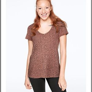 Pink Victoria's Secret Leopard V Neck Tee Shirt